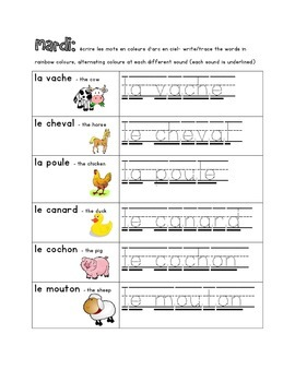 French Immersion Weekly Words Homework, Bell Work, Practice 7 - French Animals2