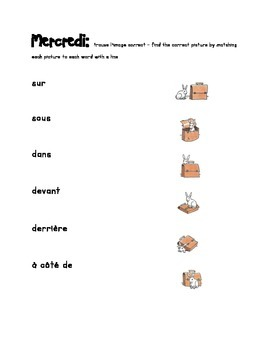 French Immersion Weekly Words Homework, Bell Work, Practice 8 - Prepositions