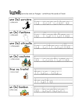 French Immersion Weekly Words Homework, Bell Work, Practice 9 - Halloween