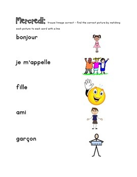 French Immersion Weekly Words Homework, Bell Work, Practice Weeks 1-5 Combined