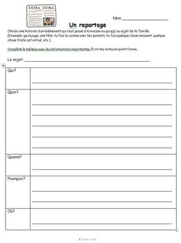 French Immersion - Writing a Newspaper