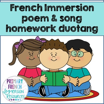 French Immersion homework duotang - poems and songs - and activities
