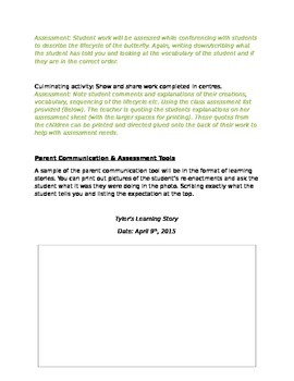 French Immersion or English Butterfly Inquiry Unit - Lesson Plan and Assessment