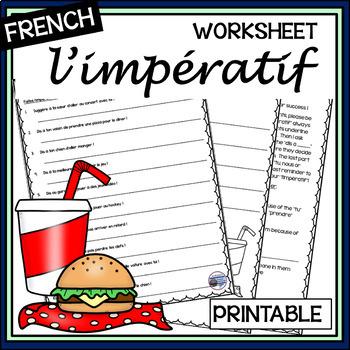 french imp ratif worksheet and answer key by mrslryan tpt. Black Bedroom Furniture Sets. Home Design Ideas
