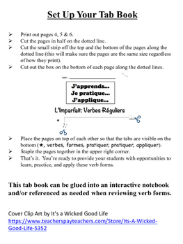 French Imperfect (Regular Verbs) Tab Book