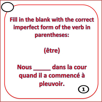 French Imperfect Tense Task Cards
