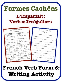 French Imperfect Writing Activity (Irregular Verbs)