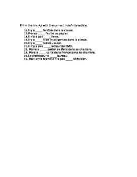 French Indefinite Articles Worksheet