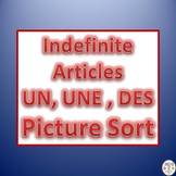 French Indefinite articles UNE, UN  OR DES  Category Picture Sorter (SB)