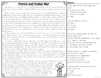 French & Indian War Differentiated Reading Passages & Questions | TpT