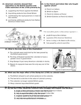 US History 8 French & Indian War Test