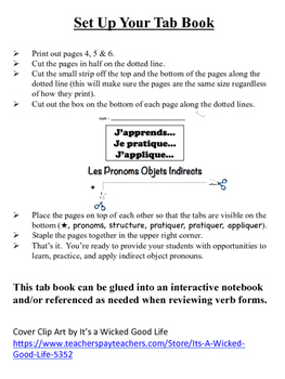 French Indirect Object Pronouns Tab Book
