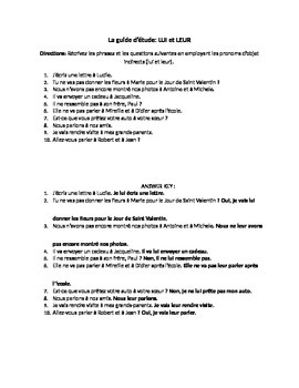 French Indirect Object Pronouns Worksheet/Quiz (Lui et Leur)