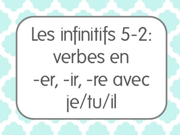 French Infinitive Verbs Lesson 2: 1st/2nd/3rd person singular constructions
