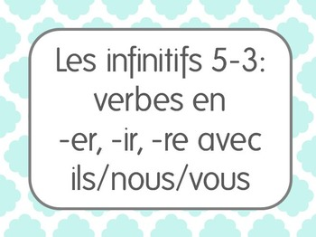 French Infinitive Verbs Lesson 3: 1st/2nd/3rd person plural constructions