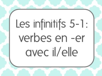 French Infinitive Verbs/Activities Lesson 1: 3rd person singular constructions