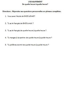 French Integrated Performance Assessment IPA on School - Les cours et l'école