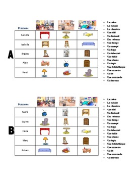 French Room and Furniture Interactive Crossword Puzzle, Speaking Activity