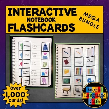 French Flashcards, Interactive Notebook Flashcards Bundle