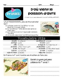 French Intermediate Interpretive Listening activity/video: Poisson d'Avril