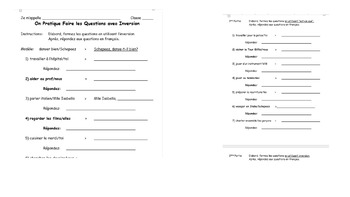 French Interrogative Classroom Activities