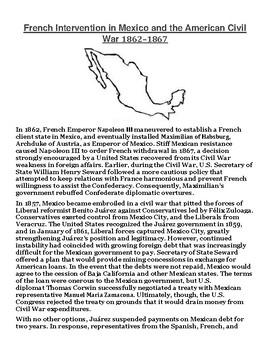 French Intervention in Mexico Article with Summary Assignment