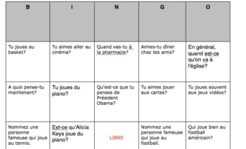 French Interview Bingo Preposition and Article Contractions