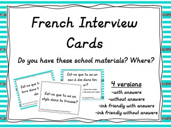 French Interview Task Cards: School Materials and Location