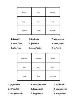 French Irregular Verb Activities -5 Pages