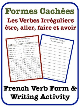 French Irregular Verb Writing Activity (être, aller, faire, avoir)