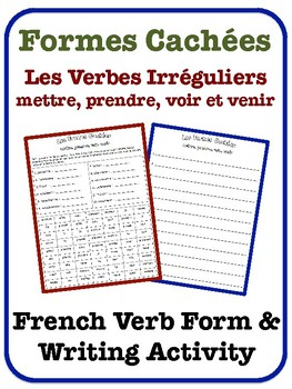 French Irregular Verb Writing Activity (mettre, prendre, v