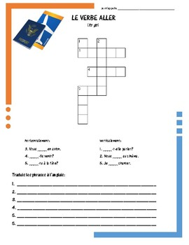 French Irregular Verb Puzzles - ALLER