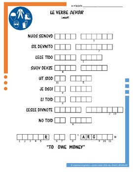 French Irregular Verb Puzzles - DEVOIR