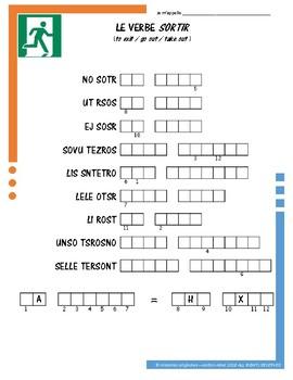 French Irregular Verb Puzzles - SORTIR