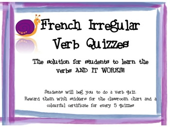 Awesome French Verbs Quizzes - Irregular