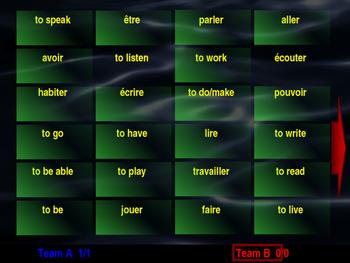 French Irregular Verbs Interactive Matching Pairs Game