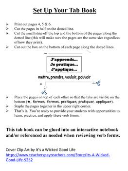 French Irregular Verbs Tab Book: mettre, prendre, vouloir, pouvoir