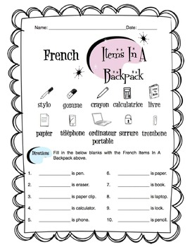 French Items In A Backpack Worksheet Packet