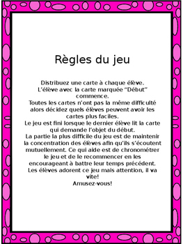 """French: L'ARGENT, """"J'AI ... QUI A?"""", Game, Core & Immersion: PRIMARY"""