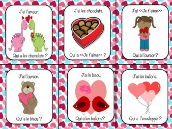 "French ""J'ai Qui a""  Game La Saint-Valentin Valentine's Day Vocabulary"