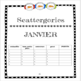 French January Scattergories Game - Janvier - Petit Bac