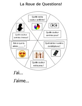 French Je Me Présente Speaking Spinner Wheel - Roue des Questions
