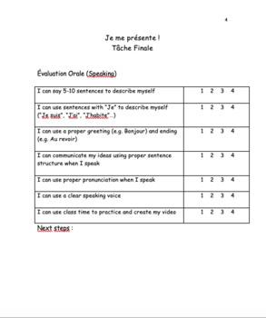French Je Me Présente Speaking Task