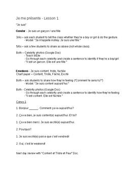 French Je Me Présente Unit - Lesson Outlines