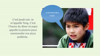 French: Reading:  Je commande ma pizza préférée, lecture, PRIMAIRE