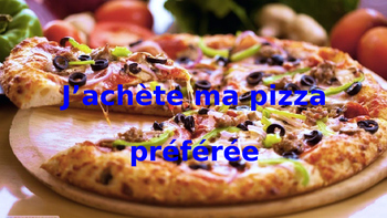 French: Reading:  Je commande ma pizza préférée, lecture,