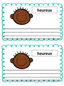 French feelings Les sentiments- Writing sentences about feelings and emotions
