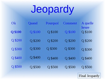 French Jeopardy Information Question Practice