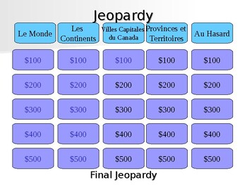 French Jeopardy - The continents and Canada