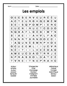 French Jobs Word Search Puzzle - Mots cachés français sur les emplois